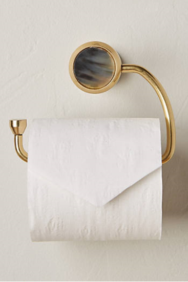 ALVEAR TOILET PAPER HOLDER from Anthropologie  - limited quantities available - $30 on sale - brass and natural horn