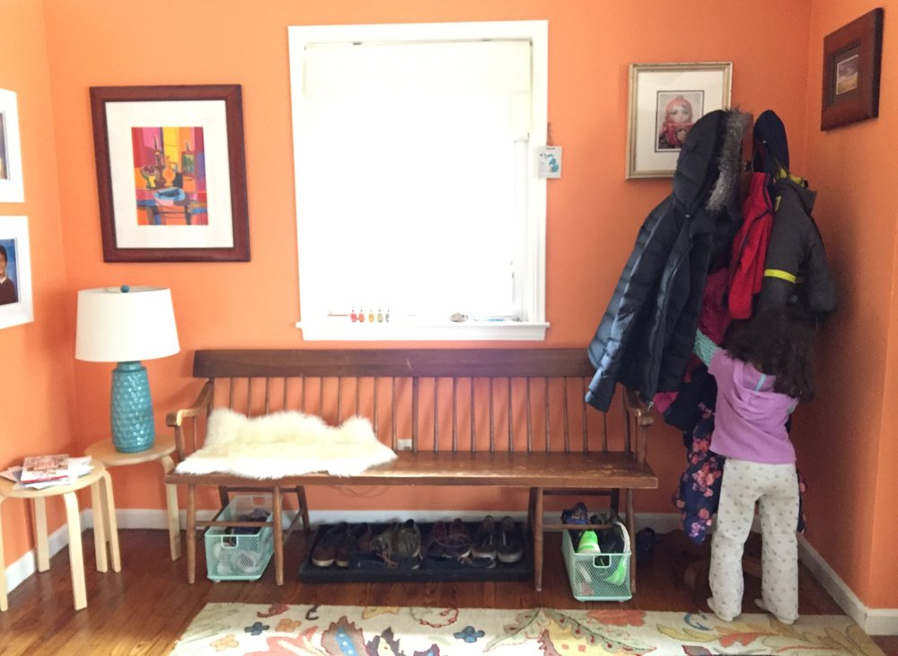 Daughter realizes mom can outwait her and decides to hang up her coat.  The end.