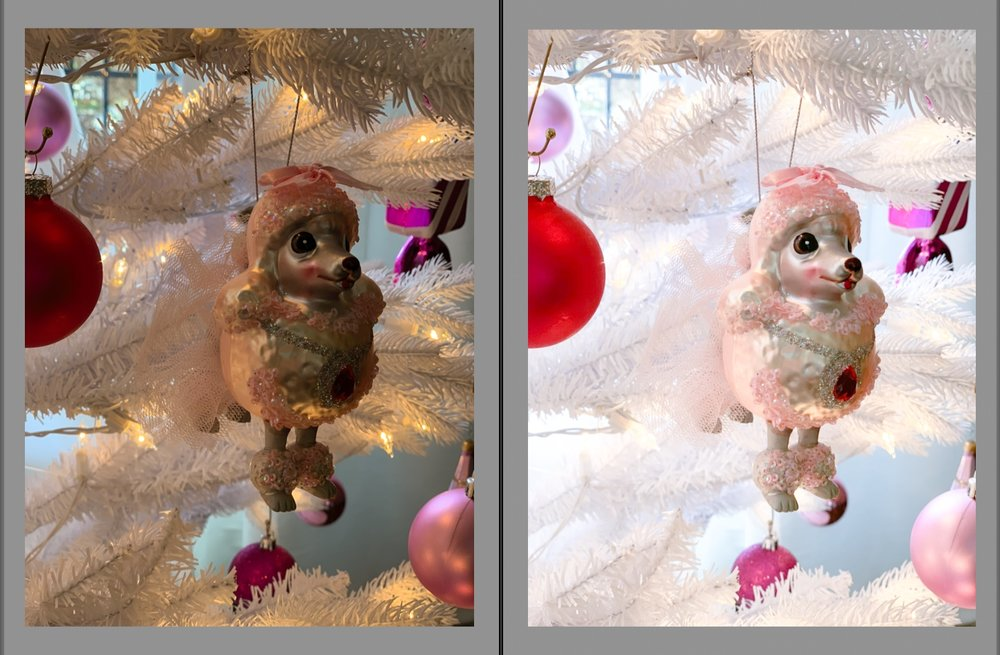 Here's a before-and-after photo of my precious poodle ornament. That's the magic of the #DollsPartyPretty filter!