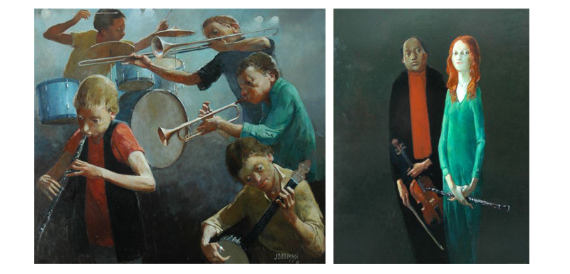"""This work is part of the upcoming John Beeman Exhibition at Red Hill Gallery in 2012 """"The Band"""" 72 x 62  &  """"Duo""""  44 x 82"""