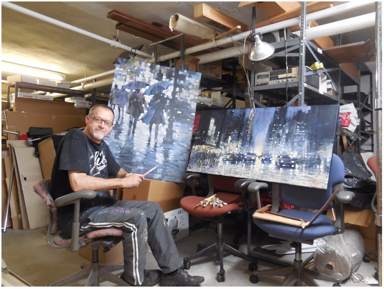 David Hinchliffe at work in a sub-basement in New York