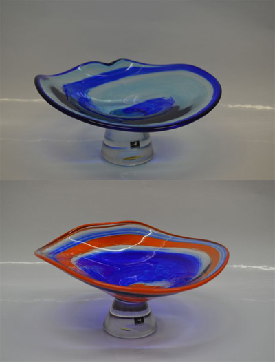 Cobalt and Black Wave Bowl Opal Orange and Cobalt Wave Bowl