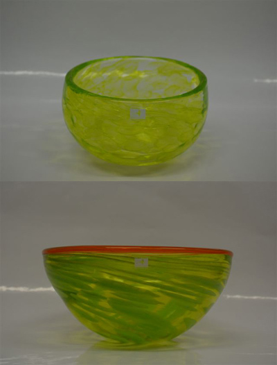 Uranium and Lime Monet Bowl Lime and Orange Rim Cloud Bowl