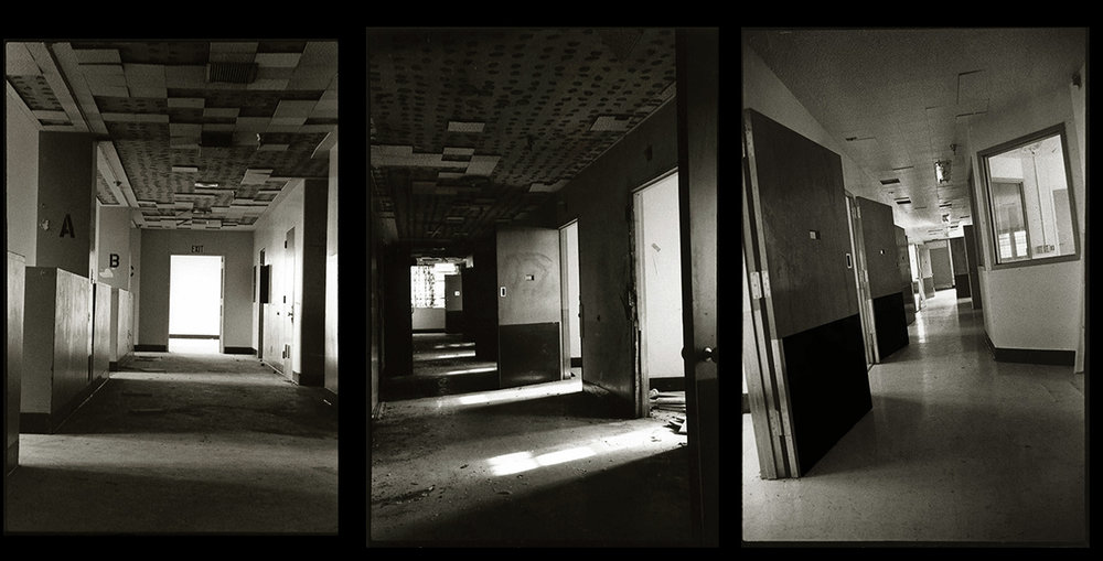 Left: A corridor on the 2nd floor by the A B C bays.  Middle: Hallway in a solitary confinement corridor.  Right:  Corridor with solitary confinement rooms and nurse's station.