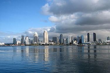 San Diego skyline on an unusual cloudy day