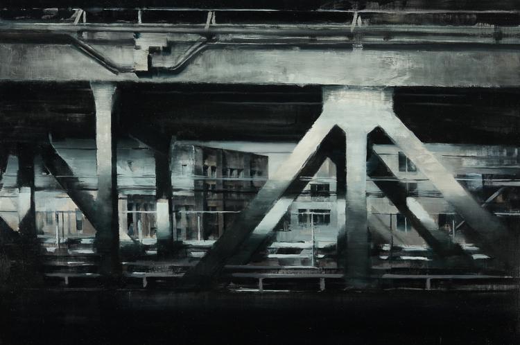 """Saisie d'une ville, 24 """"X 36"""", huile sur panneau"""