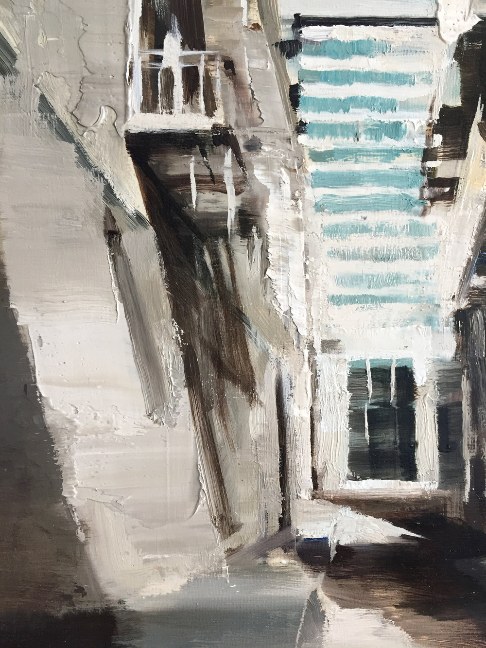 Alleyway 16 X 12 inches oil on panel Framed