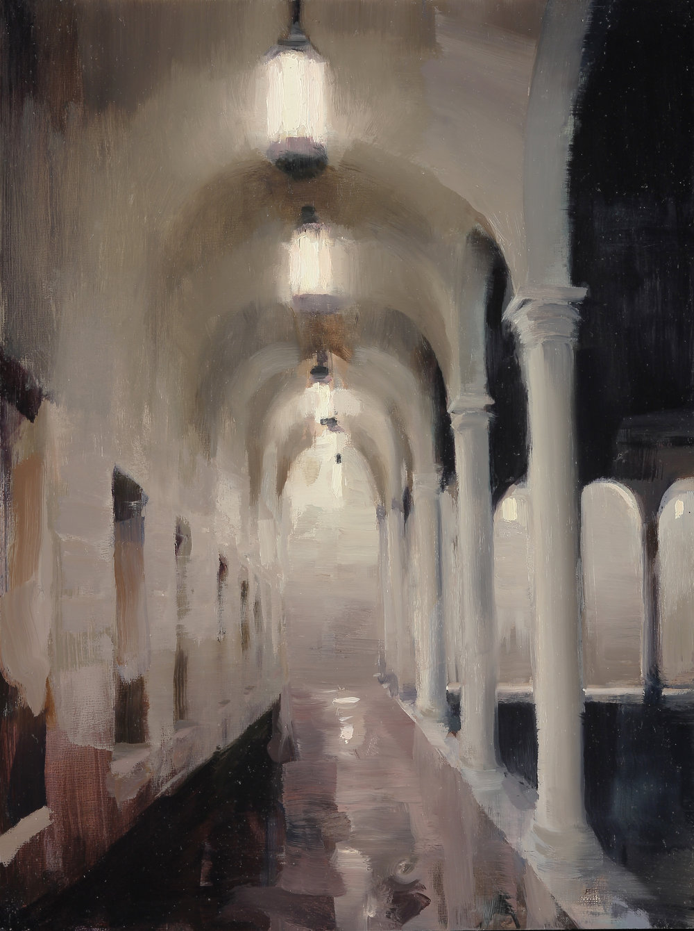 Court of Boston Library, 16 X 12 inches, oil on panel