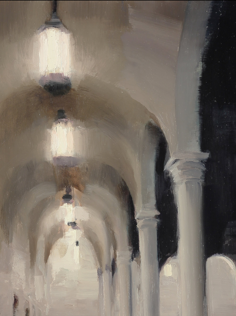 Court of Boston Library (detail), 16 X 12 inches, oil on panel