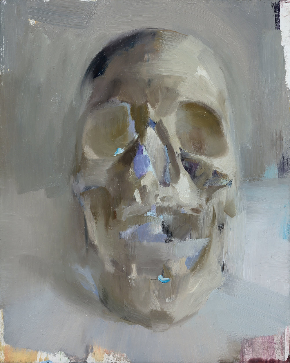 Skull 10 X 8 inches oil on panel unframed SOLD