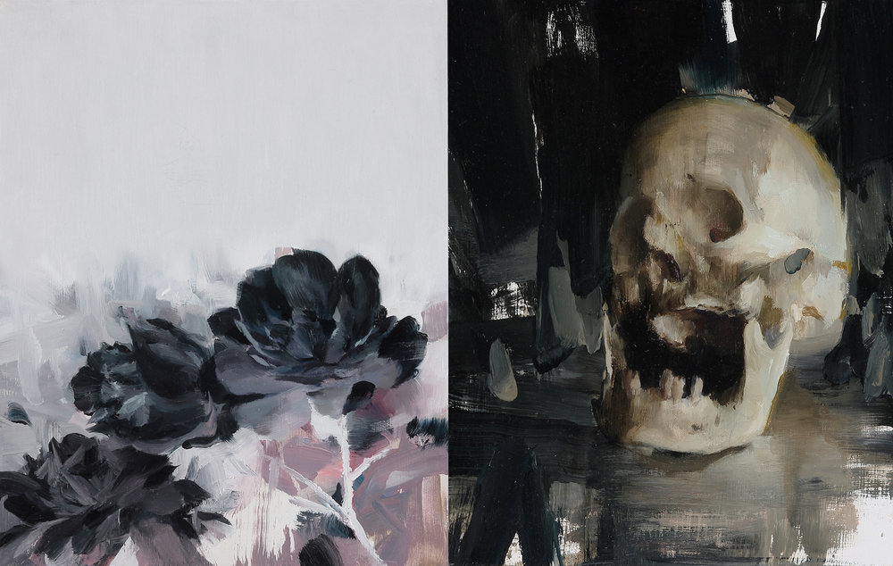 Memento Mori Diptych 10 X 16 inches oil on two panels unframed  SOLD