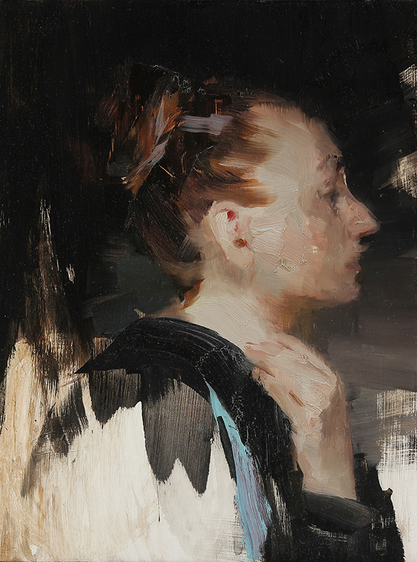 Woman in profile 12 X 9 inches oil on panel Framed