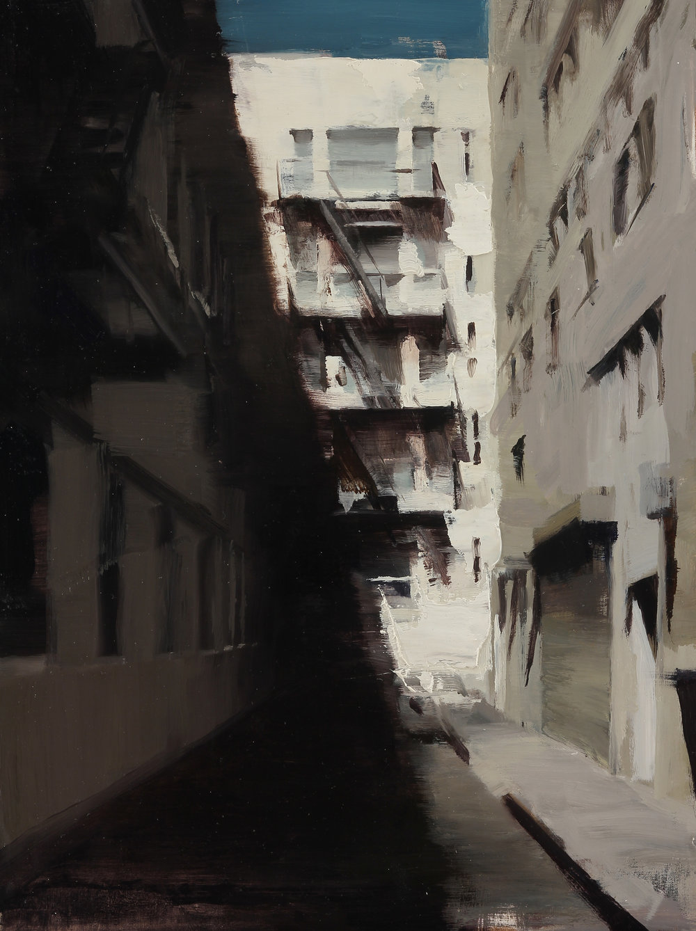 Shadows of an Alley 16 X 12 inches oil on panel Framed  SOLD