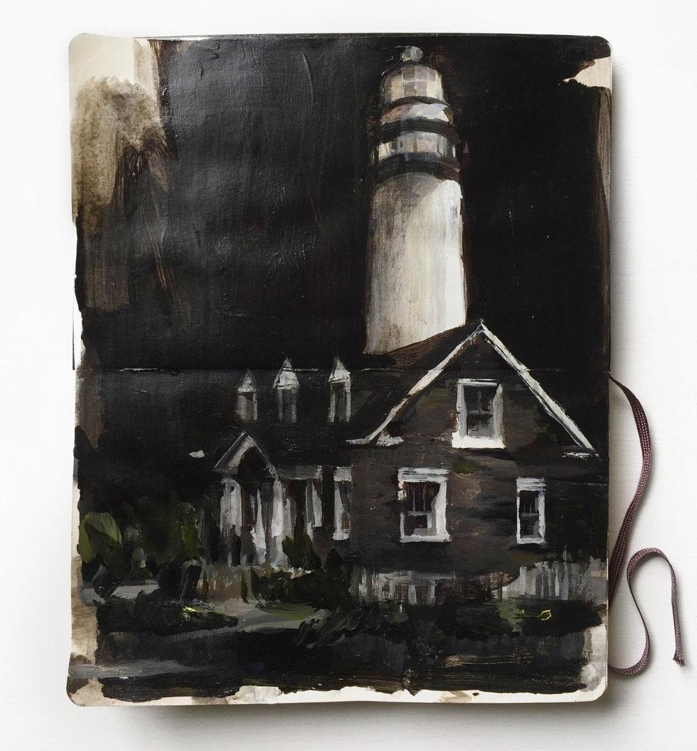 Lighthouse 11 X 8.25 inches acrylic on Moleskine