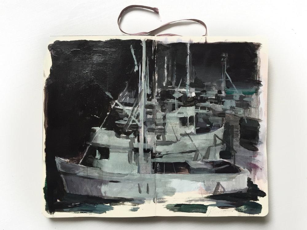 Harbor 8.25 X 11 inches acrylic on Moleskine
