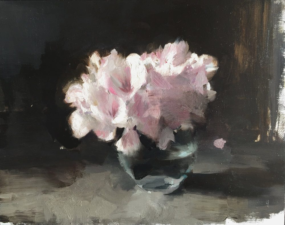 Rhododendrons 11 X 14 inches oil on aluminum panel  SOLD