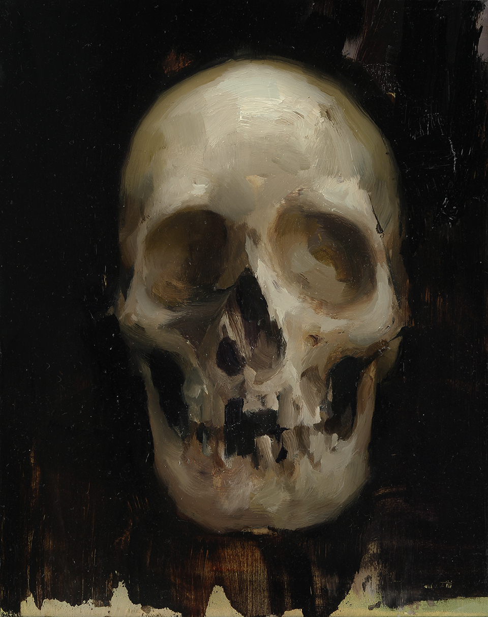Skull 10 X 8 inches oil on panel