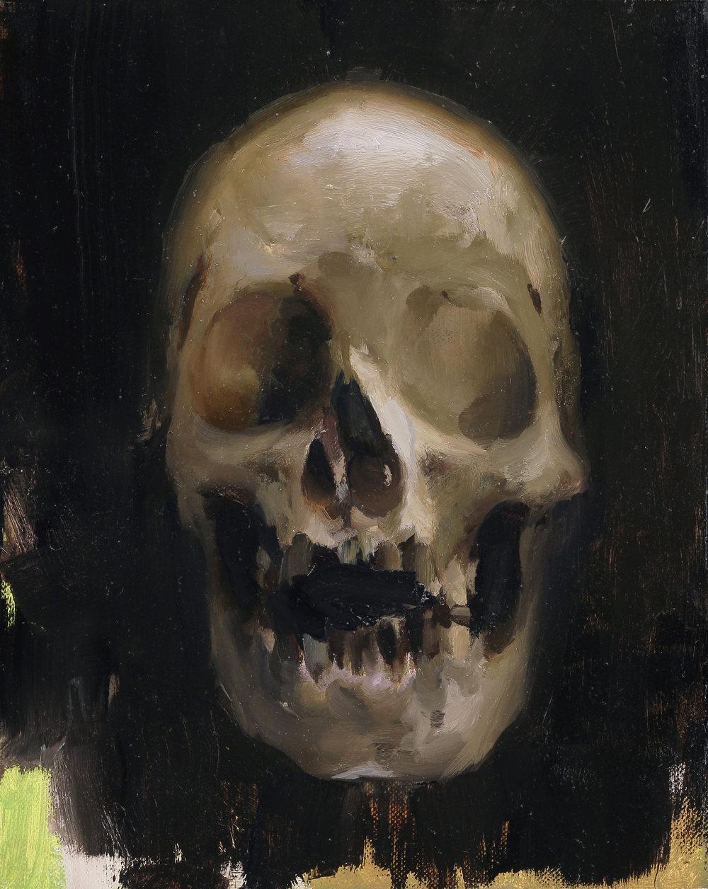 Skull 10 X 8 inches oil on aluminum panel