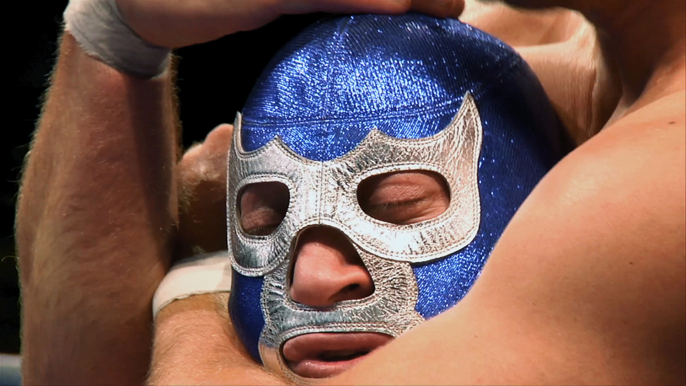 Blue Demon Jr., a Mexican living legend. (Image courtesy of Lucha Mexico/Kino Lorber.)