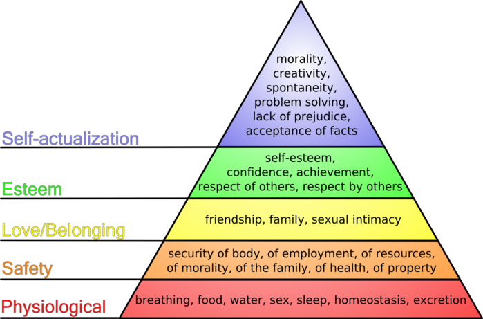 Maslow's Hierarchy of Needs  graphic by PsychologyOn /  CC BY-SA 3.0