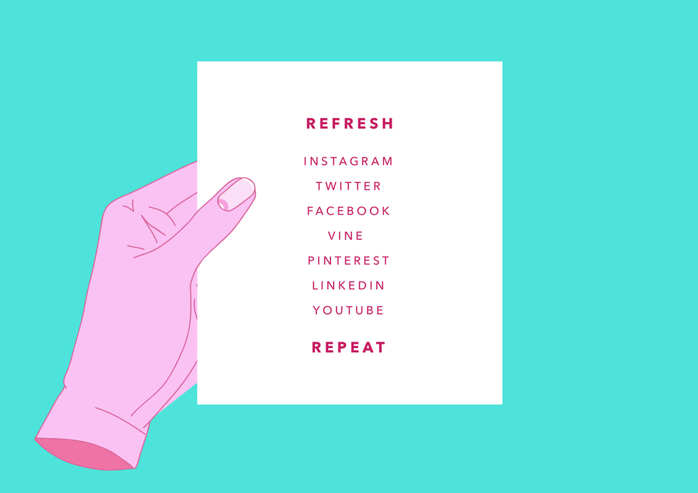 Instagram, Twitter, Facebook, Vine, Pinterest, LinkedIn, YouTube, Refresh, Repeat...