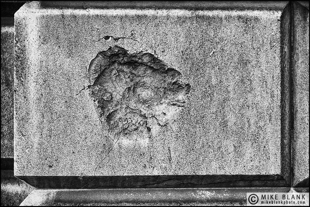 WWII Bomb damage, St Bartholomew's Hospital, London.  2016
