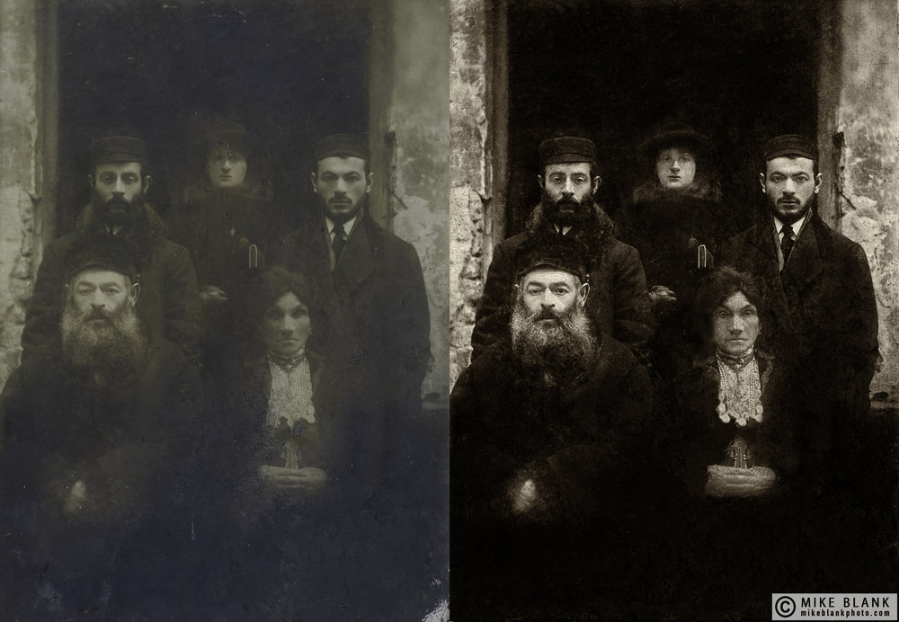 Digital restoration: My great grandparents (front row), Warsaw, Poland, late 19th Century