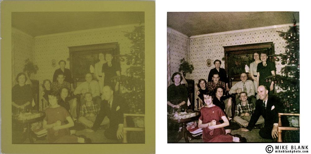 Digital restoration: found Christmas family photo, 1952