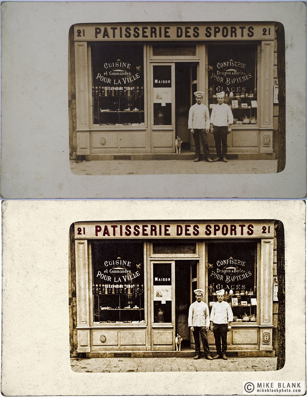 Digital restoration. Postcard: Patisserie Des Sports, likely 1900 - 1910