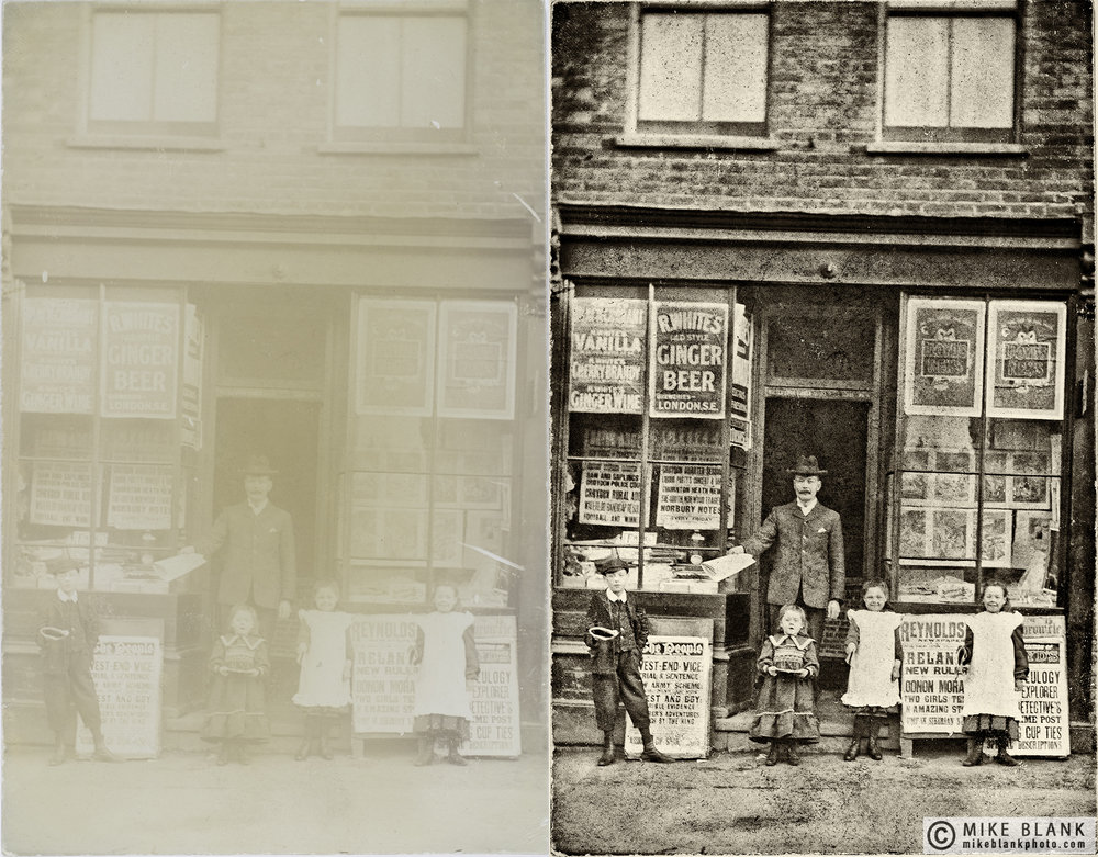 Digital restoration: London newsagent, approx 1910