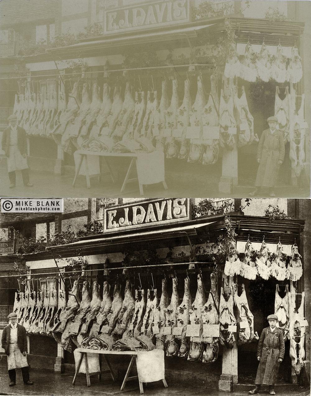 Digital restoration: EJ Davis, butcher approx 1910 (?)