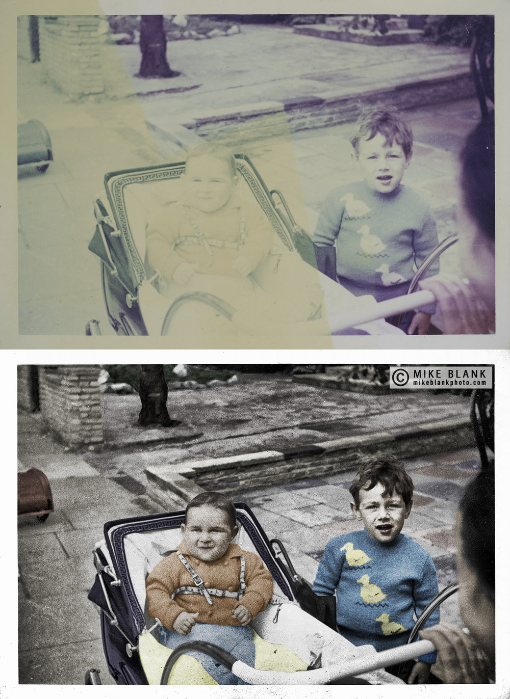 Digital restoration.  Stained, faded colour print of me aged about 9 months with my brother Paul. 1963