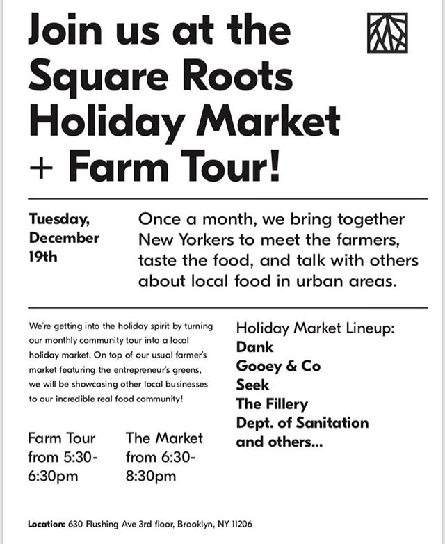Calling all last minute holiday shoppers— come join us TOMORROW at the @squarerootsgrow Holiday Market! We'll be joined by other local makers and you can also tour their amazing indoor farm! See you there!