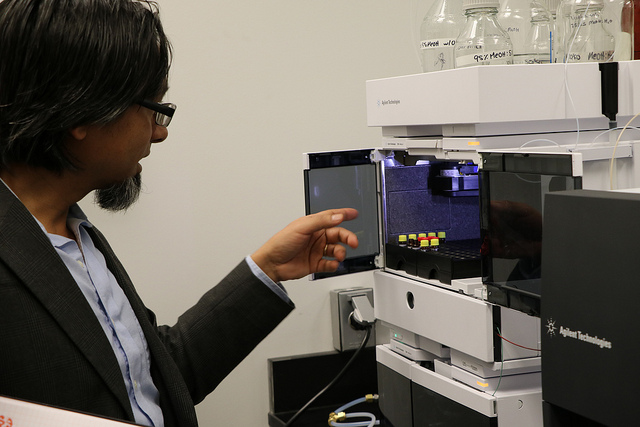 Co-PD Dr. Amir Sapkota in the Exposome Small Molecule Core Facility