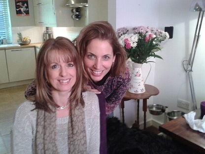 Cathryn and Jasmine on filming day.
