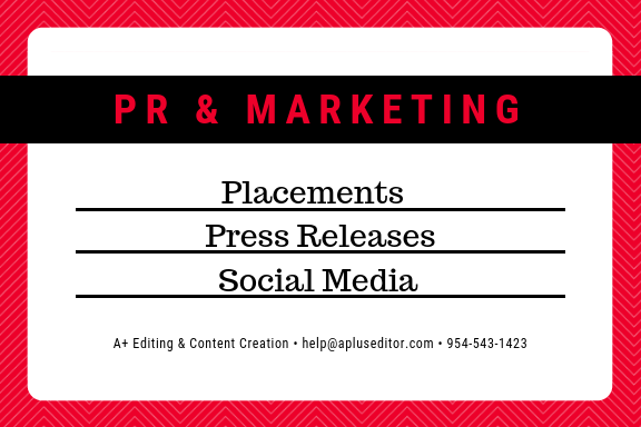 Public relations and marketing services. - We tell others you're the best.