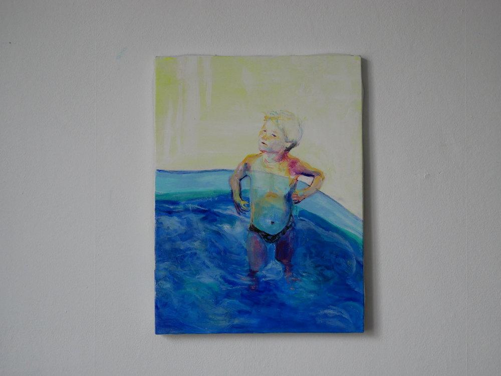 Studies of Aquatic ape 1.  Oil on canvas. 40 x30 cm.