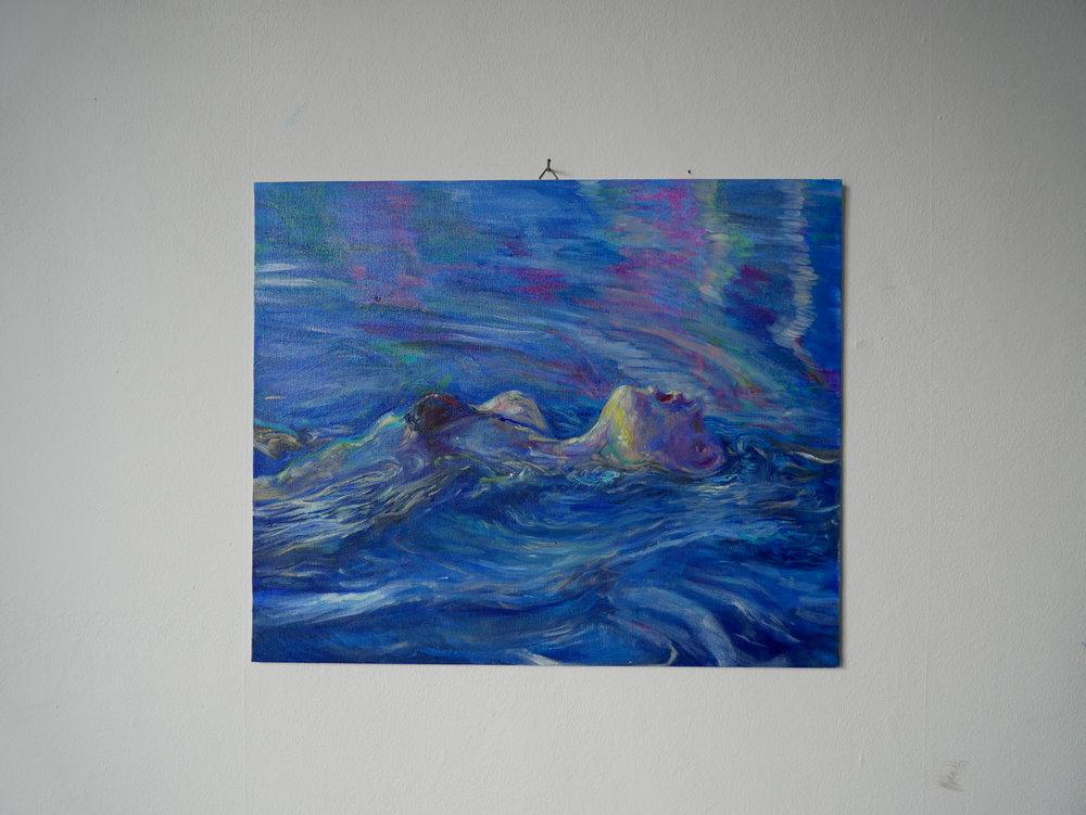 Backstroke 2 , Oil on cardboard. 38 x 46 cm.