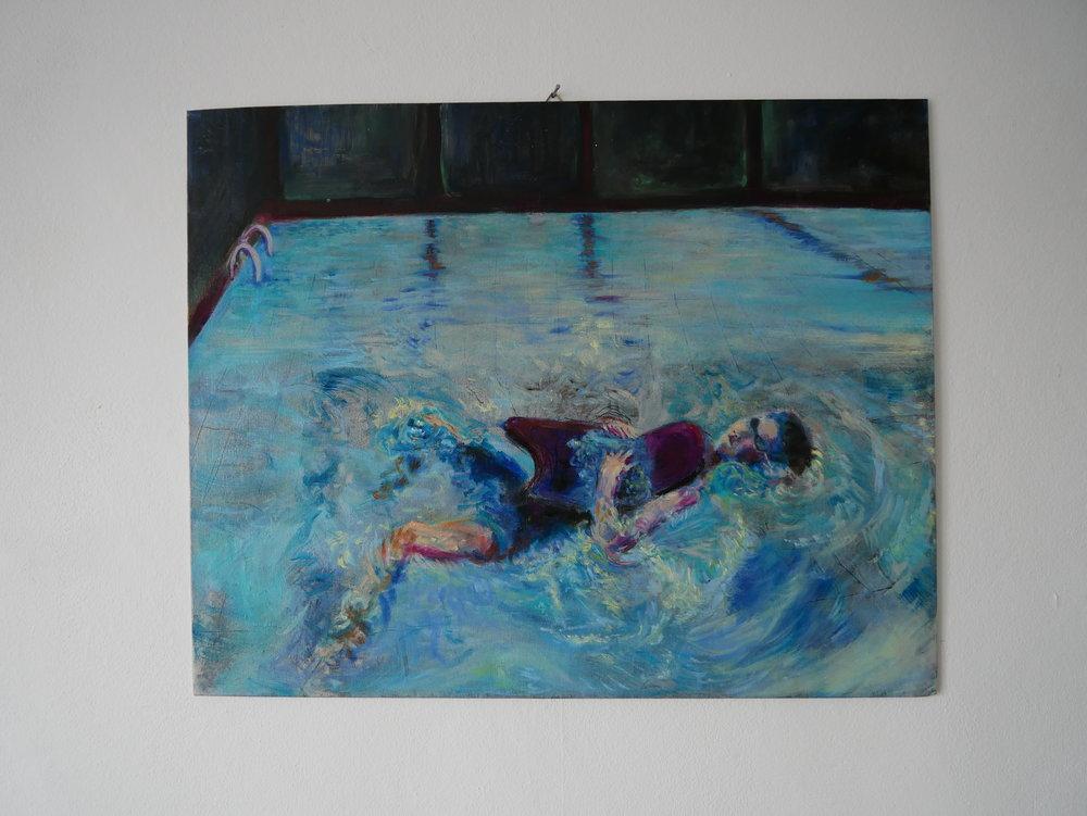 Backstroke 1,  Oil on cardboard. 50 x 40 cm.