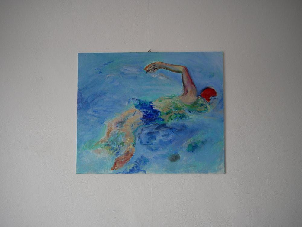 Front Crawl . Oil on cardboard. 38 x 46 cm