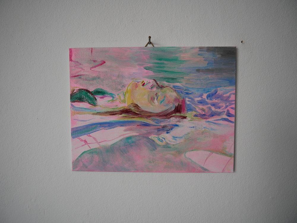 Backstroke Pink . Oil on cardboard 15 x 20 cm