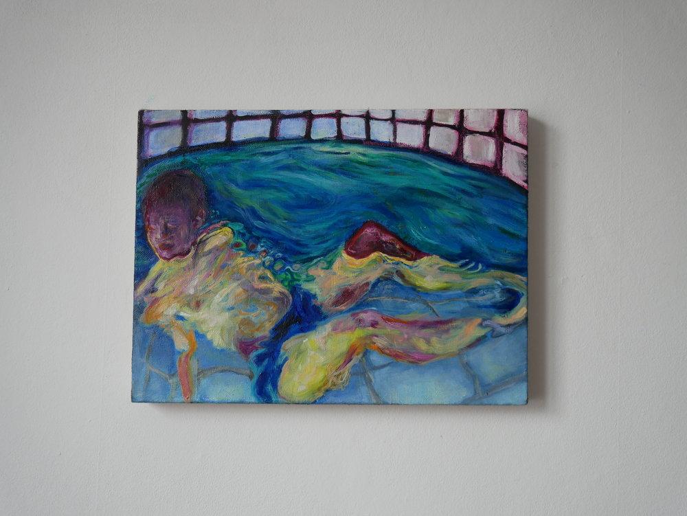 Aquatic Ape in a Whirlpool . Oil on canvas. 40 x 30 cm