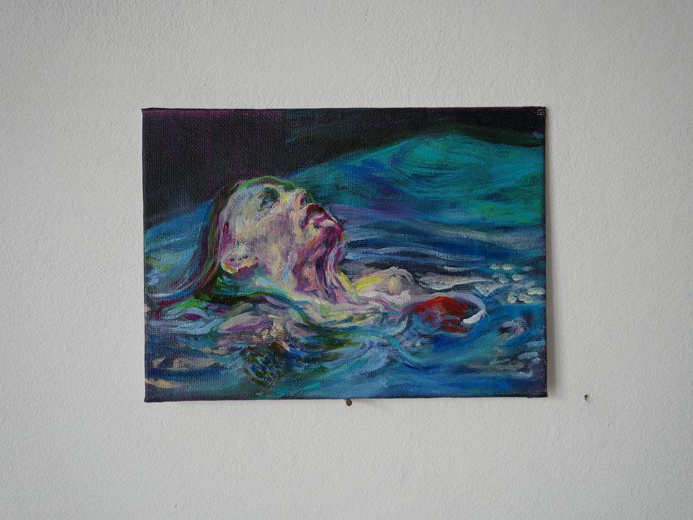 Backstroke black . Oil on cardboard. 18 x 13 cm