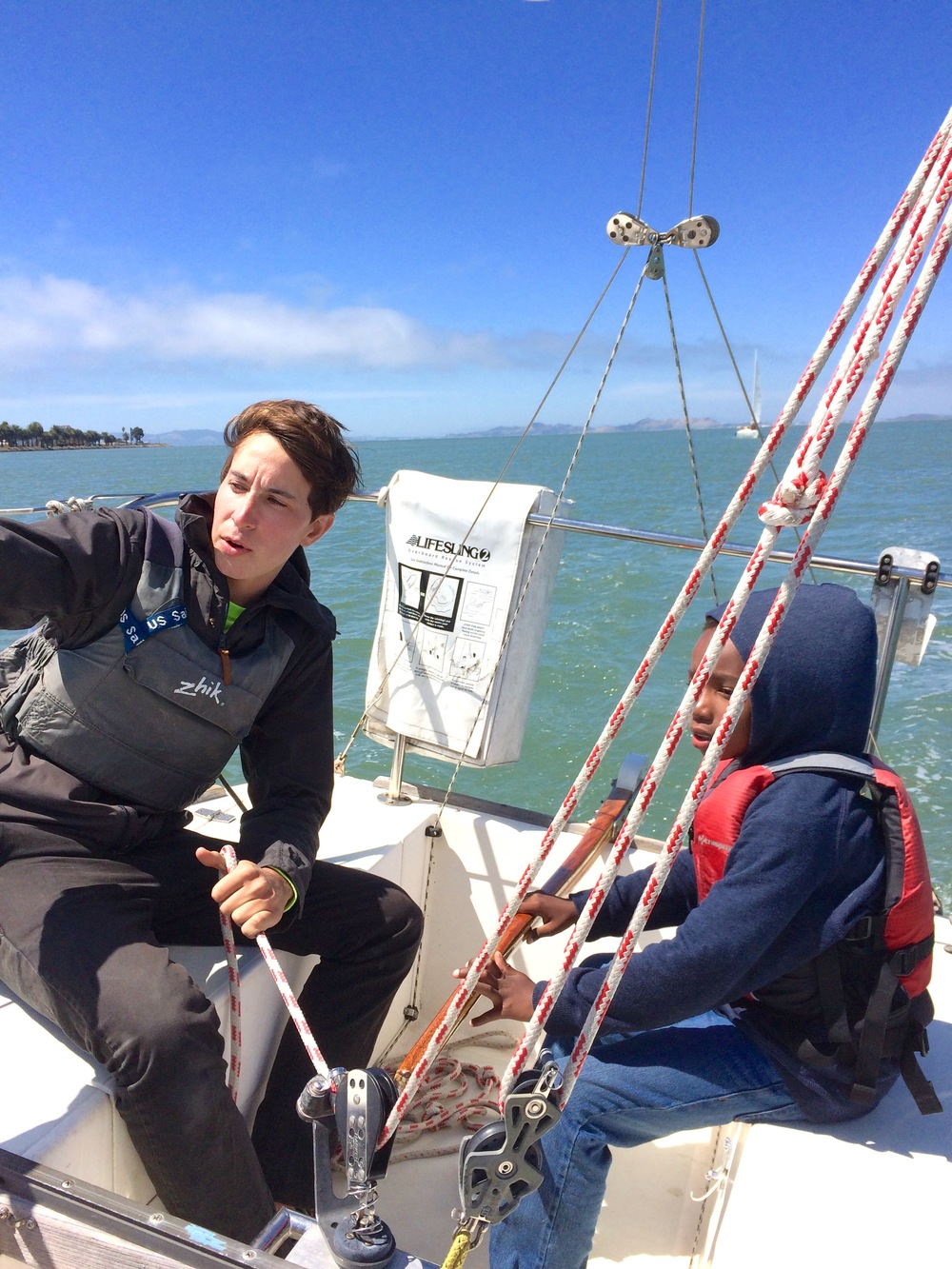 Teaching kids how to sail at Treasure Island Sailing Center.