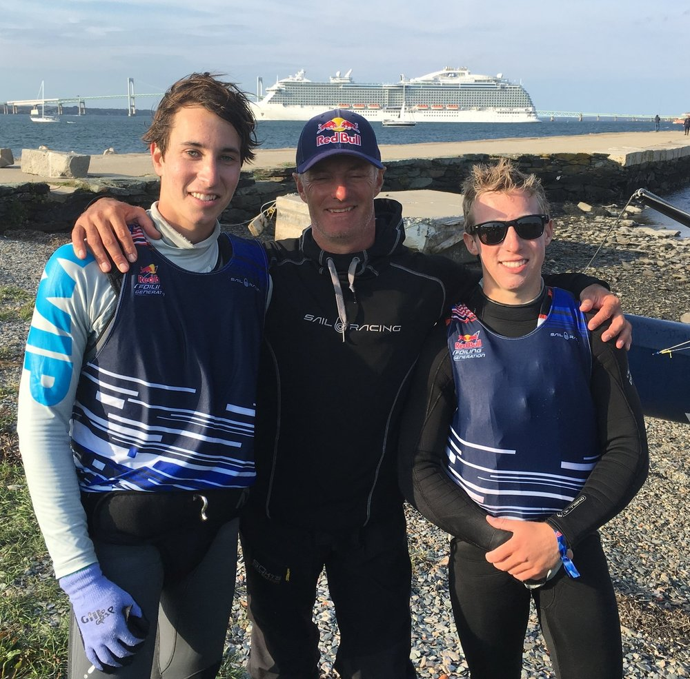 At Red Bull Foiling Generation, with coach Hans-Peter Steinacher.