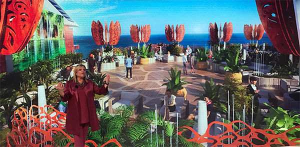 Lisa Luton-Perlo, President of Celebrity Cruises explains the new Rooftop Garden concept.