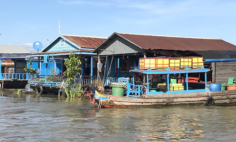 Floating village on the Mekong River in Cambodia