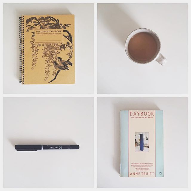 "Instead of Artist's Way and morning pages, this year I'm starting a new ritual: day book. It's a place to practice recording observations, images, encounters, beautiful things. It's making me realize how intentional I must be about attuning to my own experiences. As artist Anne Truitt writes in her Daybook, ""...I have to stay 'turned on' all the time, to keep my receptivity to what is around me totally open. Preconception is fatal to this process. Vulnerability is implicit in it; pain, inevitable."" 💛k"