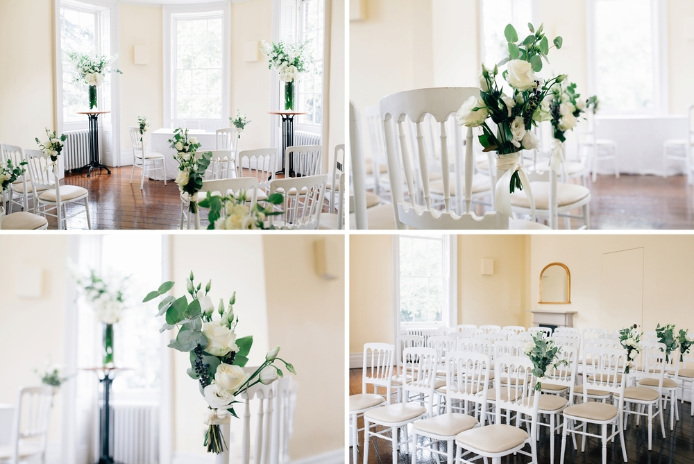 Montage Clissold House ceremony room light airy filled with white roses hydrangeas