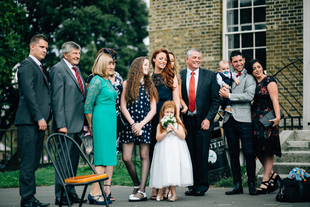 Impromptu family photos outside Clissold House wedding photographer